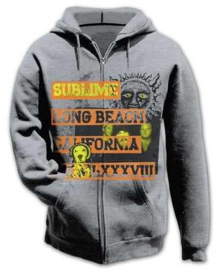 Sublime 1988 Sun Logo Zipper Gray Hoodie Small Only