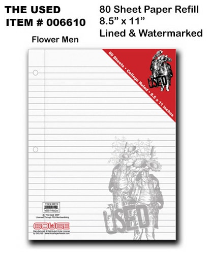 The Used Flower Men Looseleaf Refill Paper - 8.5x11-Ruled
