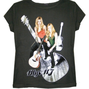 Aly & AJ Foiled Guitar Women's Black T-shirt